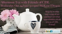 photo of teapot with event details