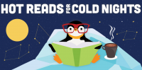 Hot Reads for Cold Nights poster with penguin reading a book