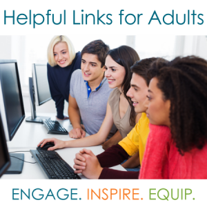 Image of adults at computer with text helpful LInks for adults