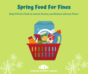 Food For Fines basket of food with spring flowers