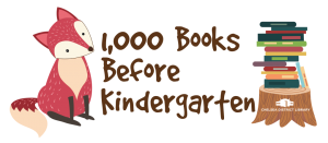 image of fox with pile of books and text 1000 books before kindergarten