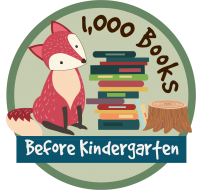 image of fox next to stack of books with 1000 Books before kindergarten text