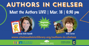 Authors in Chelsea Event image with author pics of Kirby Larson and Alyssa Satin Capucilli