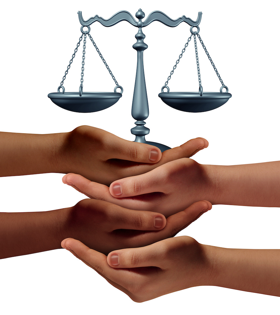 image of hands holding justice scale