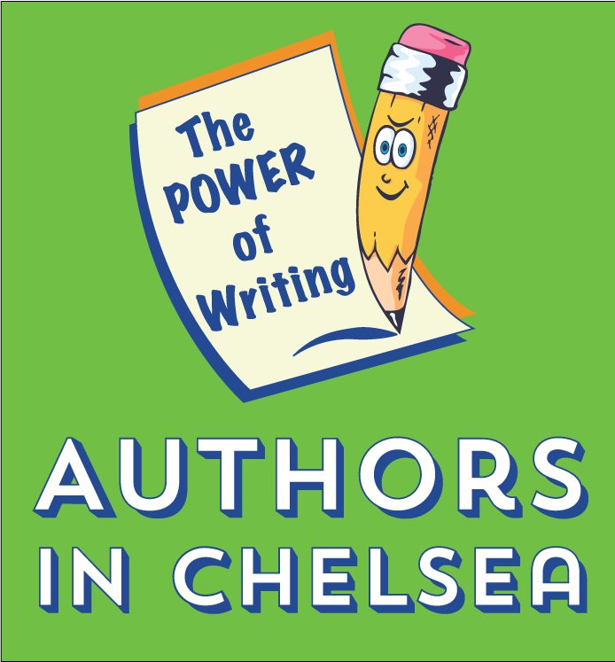 image of authors in chelsea logo with power of writing pencil