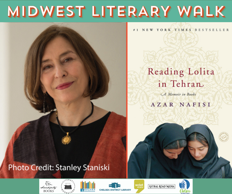 image of Azar nafisi with Book Reading lolita in Tehran and MLW logo