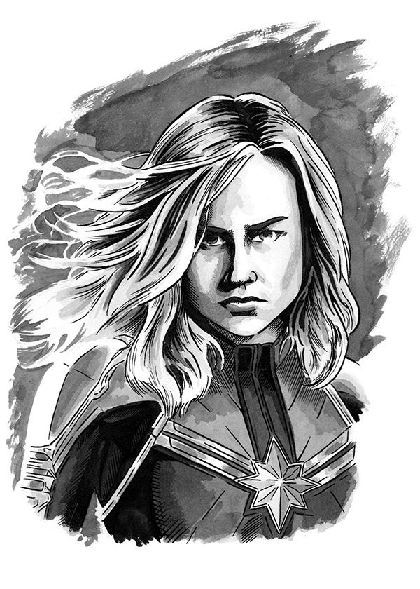 Ted Woods Captain Marvel illustration