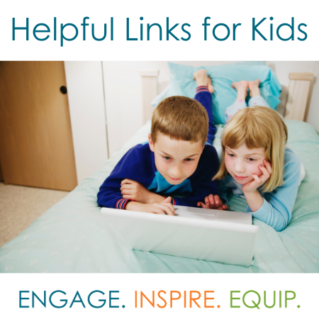 image of two kids with a tablet and text Helpful links for kids