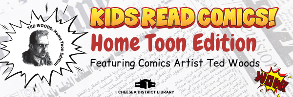 Kids Read Comics image with Ted Woods home Toon logo