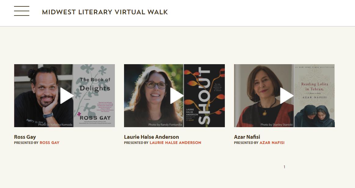 screenshot of three author interviews