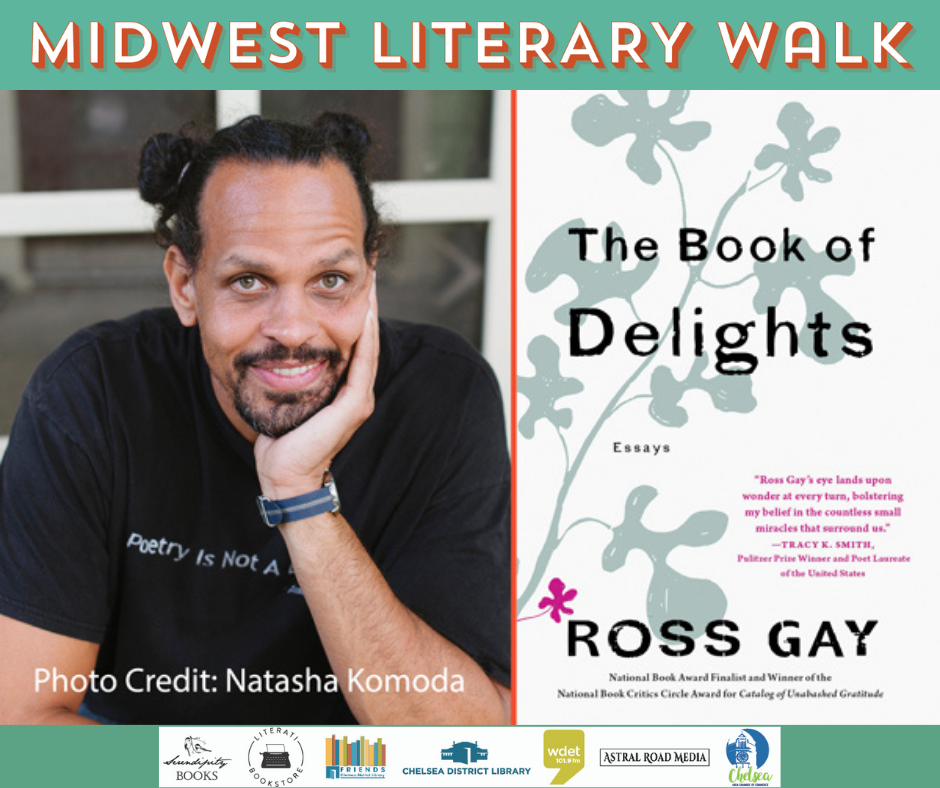 image of Ross Gay with his The Book of Delights and Lit Walk logo