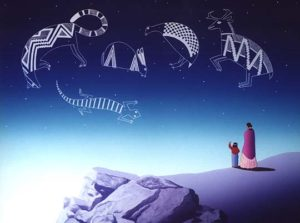 image of two people looking into night sky with swirling images