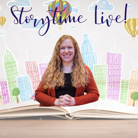 image of Miss Edith and text Storytime Live!