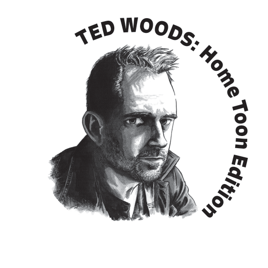 black and white sketch of Ted Woods with program title
