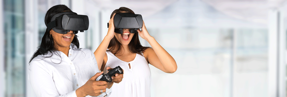 Picture of teen girls playing VR game