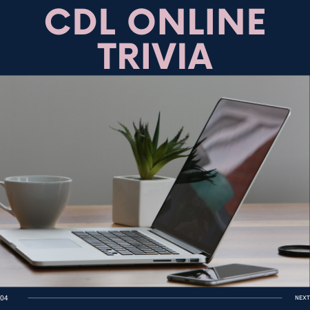 image of laptop computer with text CDL Online Trivia