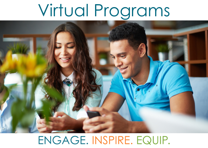 Image of two adults on devices with Virtual Programs text