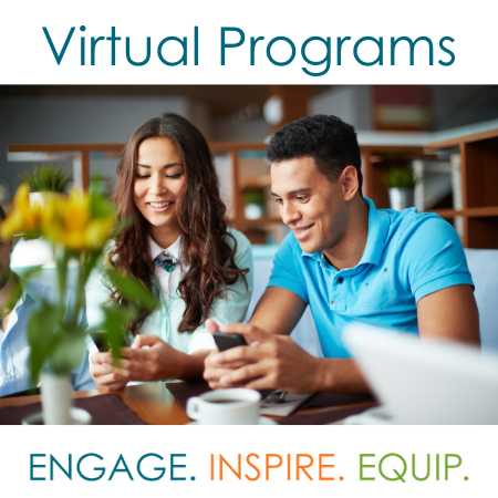image of 2 adults on devices with text Virtual Programming