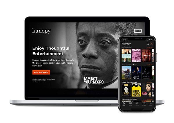 image of Kanopy on phone and computer