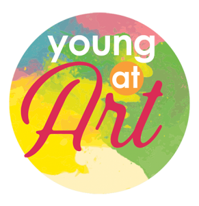 Young at Art logo on painted background