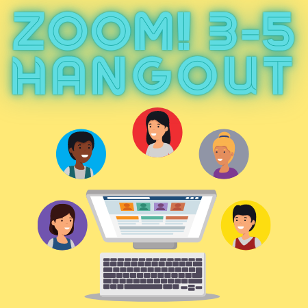 image of kids around a computer with text Zoom 3-5 Hangout