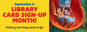 Toy Story theme Library Card Sign Up Month Banner