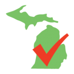 Image of state of michigan with checkmark on top of it
